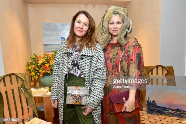 Meg Lipke and Ariana Smeraldo attend Jane Fonda Brooke Hayward and Linda Fargo celebrate Hayward Hopper at Bergdorf Goodman on February 8 2018 in New...
