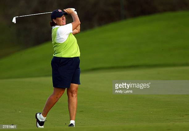 Meg Mallon hits her second shot on the par 4 14th hole during the second round of the ADT Championship on November 21, 2003 at the Trump...