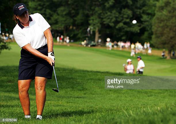 Meg Mallon hits her third shot on the par 4 15th hole during the final round of the US Women's Open on July 4 2004 at Orchards Golf Club in South...