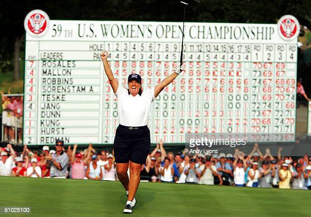 Meg Mallon reacts after winning the US Women's Open on July 4 2004 at Orchards Golf Club in South Hadley Massachusetts