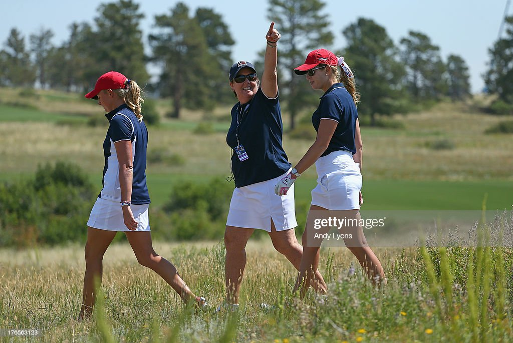 Meg Mallon the captain of USA Solheim Cup Team points to the