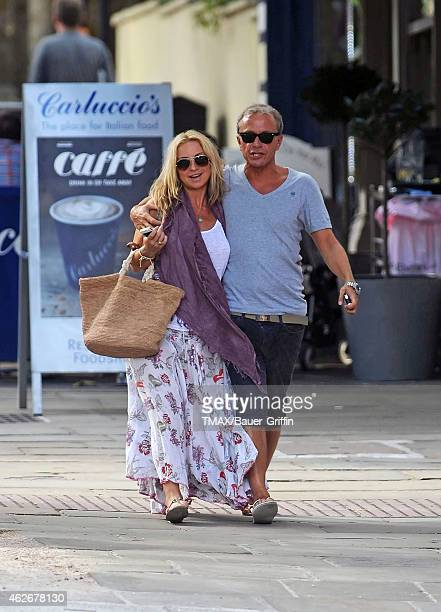 Meg Mathews and her boyfriend are seen on August 15 2012 in London United Kingdom