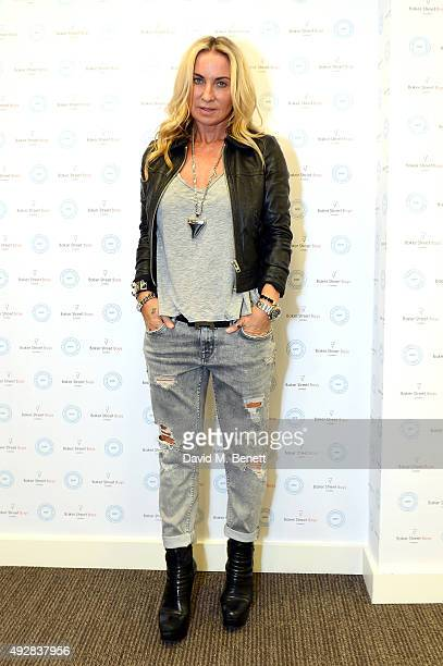 Meg Mathews attend as Meg Mathews and Baker Street Boys launch 'The Line' collection exhibition at Robin Partington Partners on October 15 2015 in...