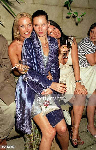 Meg Mathews, Kate Moss and Fran Cutler attend a Vogue Magazine party held at the Lisson Gallery on May 20, 1998 in London. .