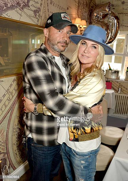 Meg Matthews and Damon Williams attend her 50th birthday lunch at Mews of Mayfair on March 23 2016 in London England