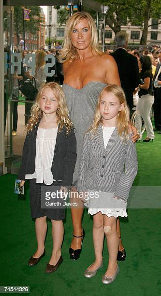 Meg Matthews and daughter Anais Matthews and friend arrives for the premiere of 'Shrek The Third' at the Odeon Leicester Square on June 11 2007 in...