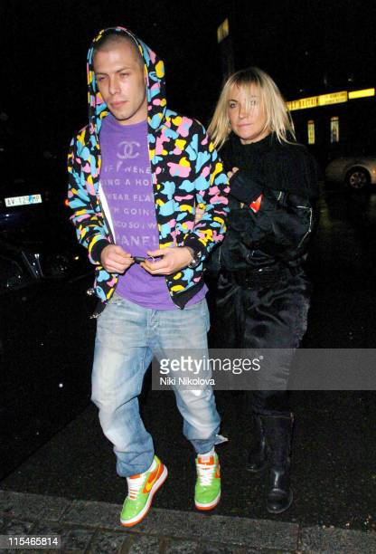 Meg Matthews and Guest during Little Britain Charity Gala Performance Departures at Apollo Hammersmith in London Great Britain