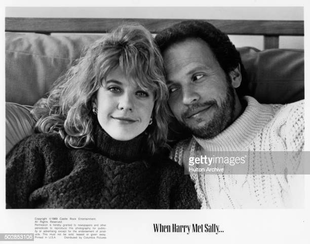 Meg Ryan and Billy Crystal pose for the movie When Harry Met Sally circa 1989