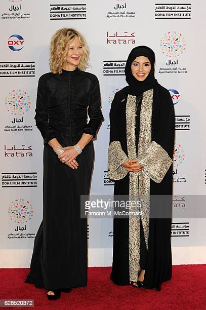 Meg Ryan and CEO of Doha Film Institute Fatma Al Remaihi attend the closing ceremony and screening of 'The Red Turtle' during the Ajyal Youth Film...