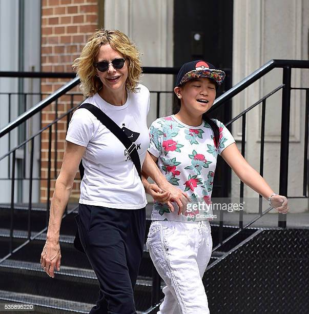Meg Ryan and Daisy True Ryan are seen in Soho on May 30 2016 in New York City
