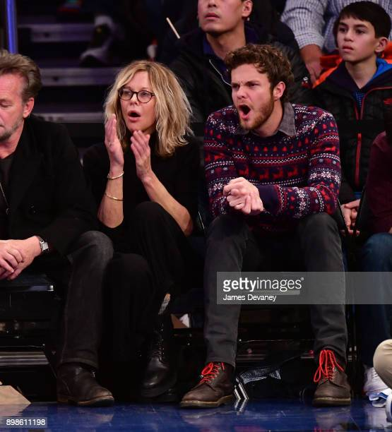 Meg Ryan and Jack Quaid attend the New York Knicks Vs Philadelphia 76ers game at Madison Square Garden on December 25 2017 in New York City