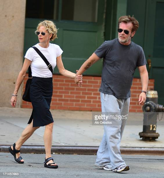 Meg Ryan and John Mellencamp are seen in Tribeca on June 24 2013 in New York City
