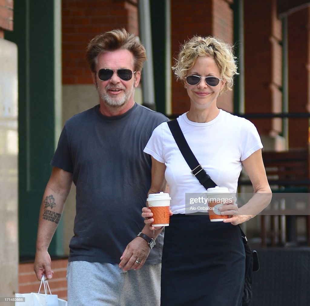 Meg Ryan and John Mellencamp are seen in Tribeca on June 24, 2013 in New York City.