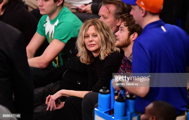 Meg Ryan attends the New York Knicks Vs Philadelphia 76ers game at Madison Square Garden on December 25 2017 in New York City