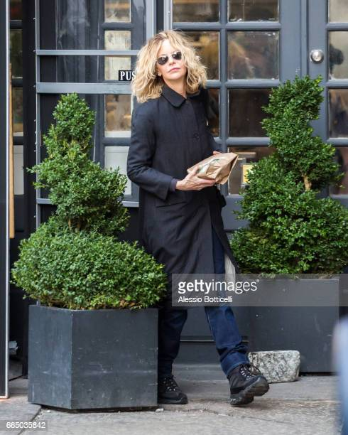Meg Ryan is seen in TriBeCa on April 5 2017 in New York New York