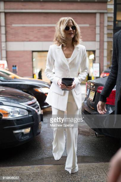Meg Ryan is seen on the street attending Christian Siriano during New York Fashion Week wearing a white suit on February 10 2018 in New York City