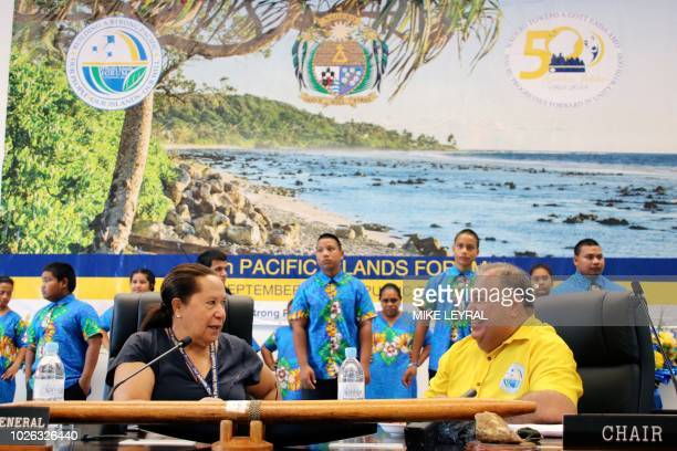 Meg Taylor secretarygeneral of the PIF and Nauru's President Baron Waqa attend the Small Islands States meeting ahead of the start of the Pacific...