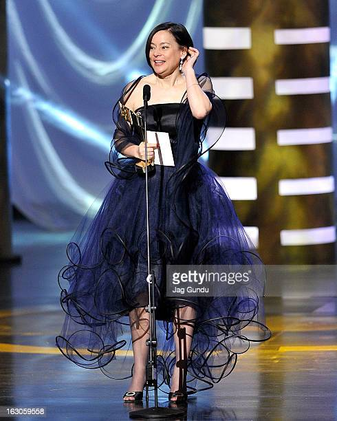 Meg Tilly, winner of best performance by an actress in a continuing leading dramatic role, speaks onstage at the 2013 Canadian Screen Awards at Sony...