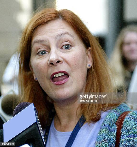 Meg Wakeman the sister of Holly Maddux talks to reporters outside the Criminal Justice Center in Philadelphia 30 September where Ira Einhorn the...