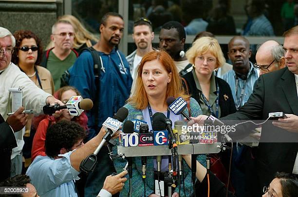 Meg Wakeman the sister of Holly Maddux talks to reporters outside the Criminal Justice Center in Philadelphia 30 September where Ira Einhorn the...