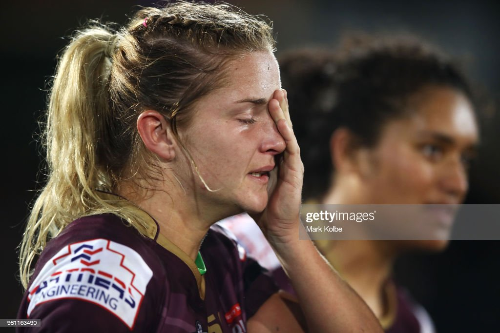 Meg Ward of the Maroons looks dejected after defeat during the Women's State of Origin match between New South Wales and Queensland at North Sydney Oval on June 22, 2018 in Sydney, Australia.