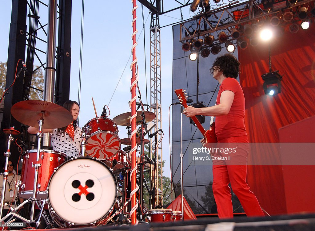 Meg White and Jack White of The White Stripes during Bonnaroo 2007 - Day 3 - The White Stripes at Which Stage in Manchester, Tennessee, United States.