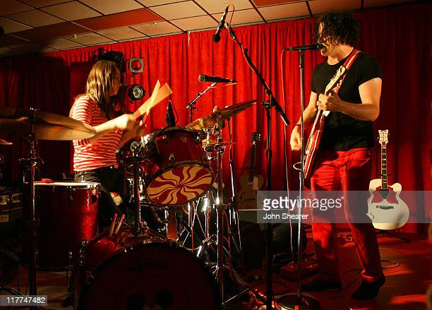 Meg White and Jack White of The White Stripes during The White Stripes Perform At Icky Thump Records at Icky Thump Records in West Hollywood...