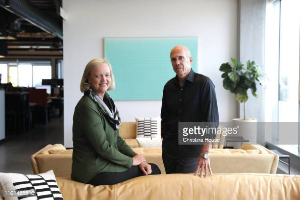 Meg Whitman and Jeffrey Katzenberg are photographed at their startup Quibi a digital studio that is creating bitesized shows for millennials in Los...