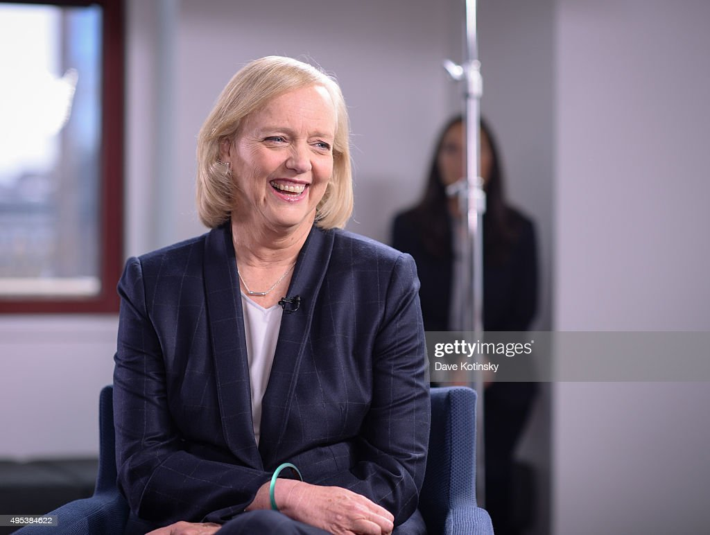 Hewlett Packard Enterprise CEO Meg Whitman In Conversation With LinkedIn Executive Editor Dan Roth : News Photo