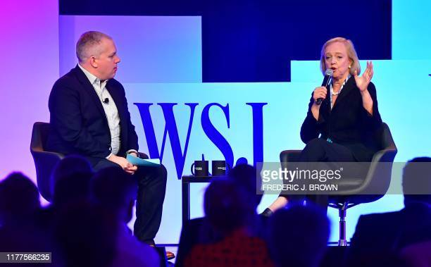 Meg Whitman CEO of streaming service Quibi is interviewed by Jason Anders Wall Street Journal Chief News Editor at WSJ Tech Live 2019 in Laguna Beach...