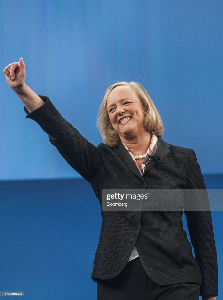 Meg Whitman, chief executive officer of Hewlett-Packard Co., gestures as she speaks during the HP Discover 2013 conference in Las Vegas, Nevada, U.S., on Tuesday, June 11, 2013. Hewlett-Packard unveiled software that knits together technology from its data-analysis acquisitions, and announced a personal computer deal with Google Inc. as it seeks to boost sales to business customers and counter slumping demand for personal computers. Photographer: Jacob Kepler/Bloomberg via Getty Images