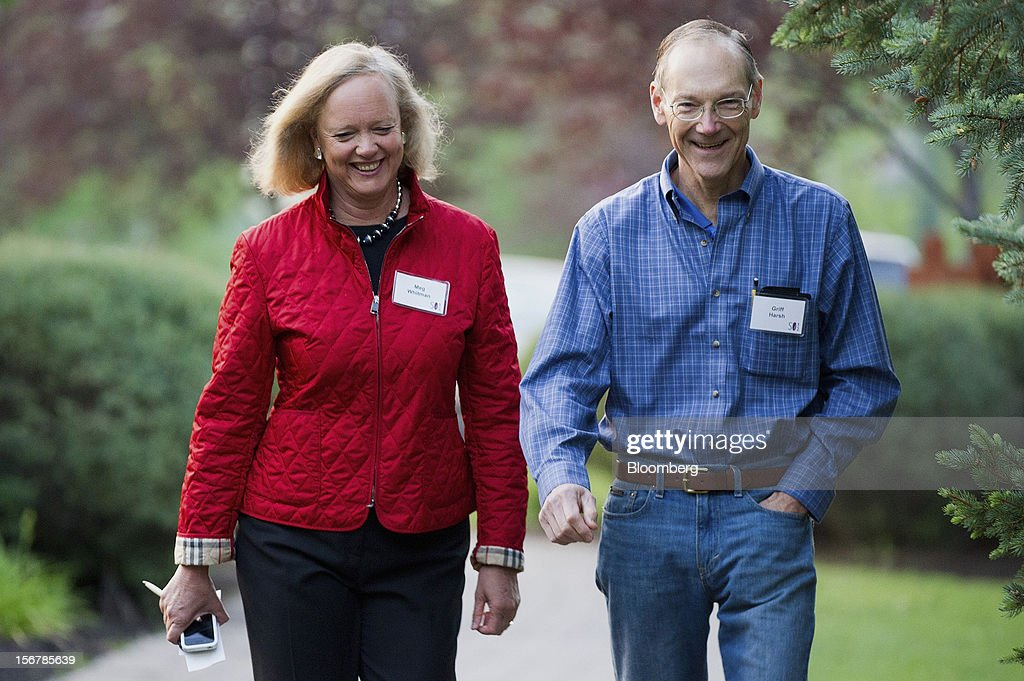 Meg Whitman, chief executive officer of Hewlett-Packard Co., left and her husband Griffith Harsh, arrive for the morning session at the Allen & Co. Media and Technology Conference in Sun Valley, Idaho, U.S., on Thursday, July 12, 2012. Hewlett-Packard Co., which bought Lynch's company last year for $10.3 billion, yesterday took an $8.8 billion writedown and said some former members of Cambridge, England-based Autonomy's management team used accounting improprieties, misrepresentations and disclosure failures to inflate the company's value prior to the deal. Photographer: David Paul Morris/Bloomberg via Getty Images