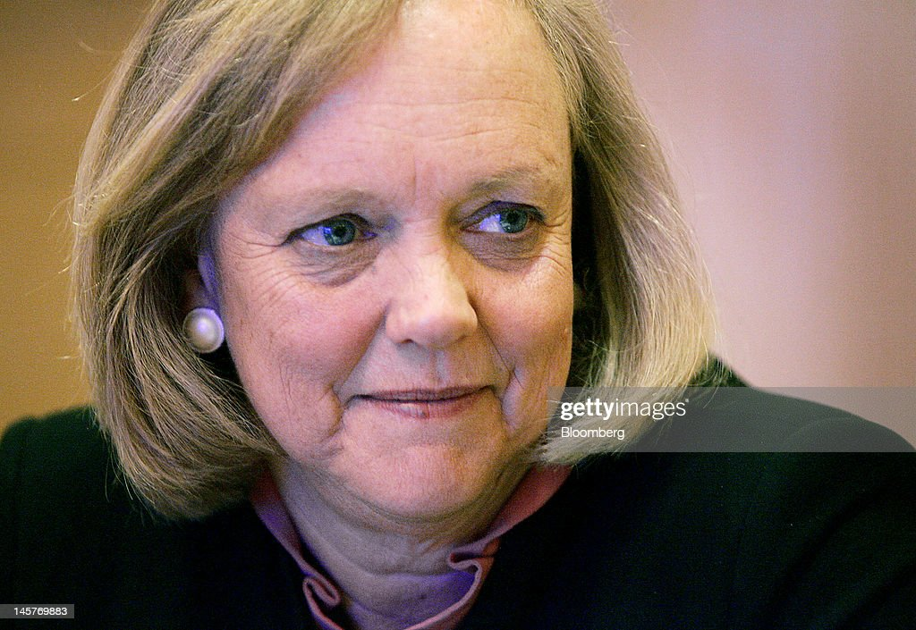 Meg Whitman, chief executive officer of Hewlett-Packard Co., listens during an interview in Las Vegas, Nevada, U.S., on Tuesday, June 5, 2012. Whitman said after the 'turmoil' from last year's management upheaval, the company is working to differentiate itself with partnerships, a broad product base and an emphasis on engineering. Photographer: Ronda Churchill/Bloomberg via Getty Images