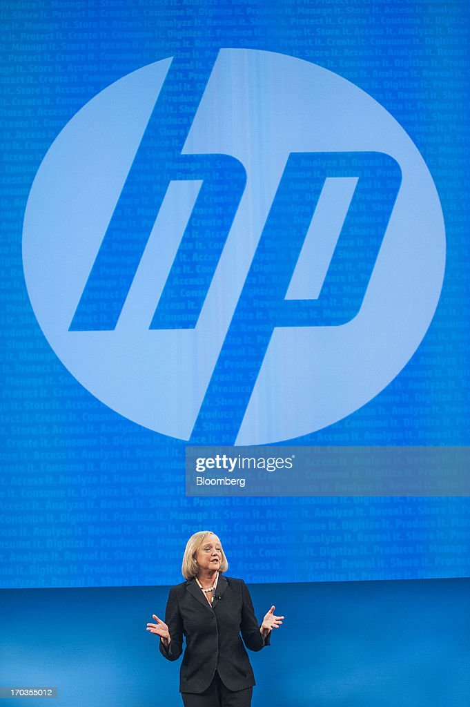 Meg Whitman, chief executive officer of Hewlett-Packard Co., speaks during the HP Discover 2013 conference in Las Vegas, Nevada, U.S., on Tuesday, June 11, 2013. Hewlett-Packard unveiled software that knits together technology from its data-analysis acquisitions, and announced a personal computer deal with Google Inc. as it seeks to boost sales to business customers and counter slumping demand for personal computers. Photographer: Jacob Kepler/Bloomberg via Getty Images