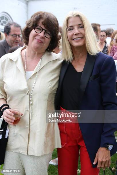 Kati Marton and Ann Nelson attend The Hamptons premiere of 'The Wife' at Guild Hall on July 22 2018 in East Hampton New York