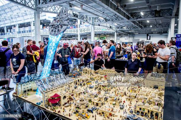 Mega Display of the Star Wars Tatooine Mos Eisley spaceport and docking bay 94 seen during London Film and Comic Con 2019 at Olympia London on July...