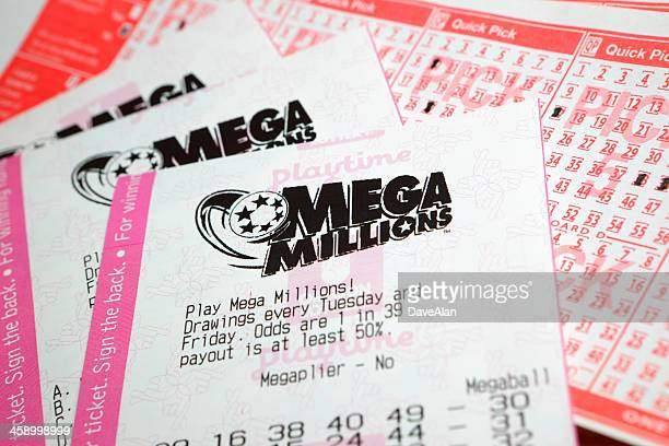mega millions lottery ticket - jackpot stock pictures, royalty-free photos & images