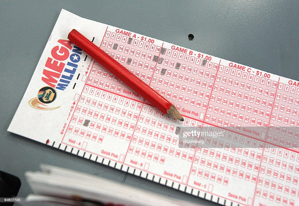 A Mega Millions number selection card lies on the counter at : News Photo