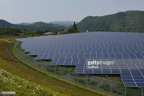 7900 mega solar panels are arranged at Aikawa Solar Power Plant in Kanagawa south of Tokyo on May 10 2015