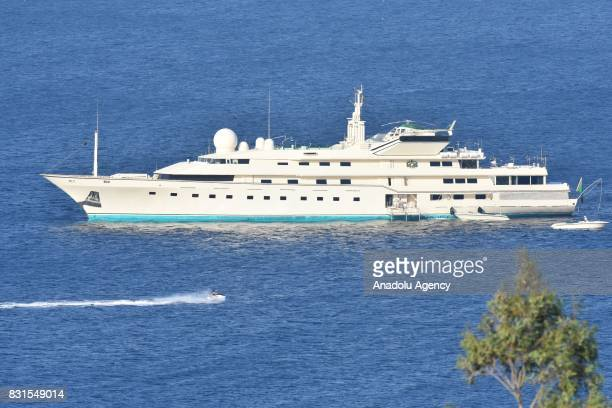 Mega yacht 'Kingdom 5 KR' of Saudi Prince AlWaleed Bin Talal bin Abdulaziz al Saud is seen anchored on the shores of the Aegean sea resort of Bodrum...
