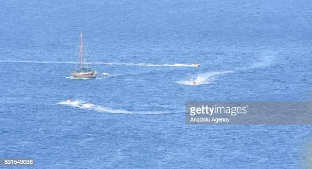 Mega yacht 'Kingdom 5 KR' of Saudi Prince AlWaleed Bin Talal bin Abdulaziz al Saud is seen anchored on the shores of the Aegean sea resort of Bodrum...