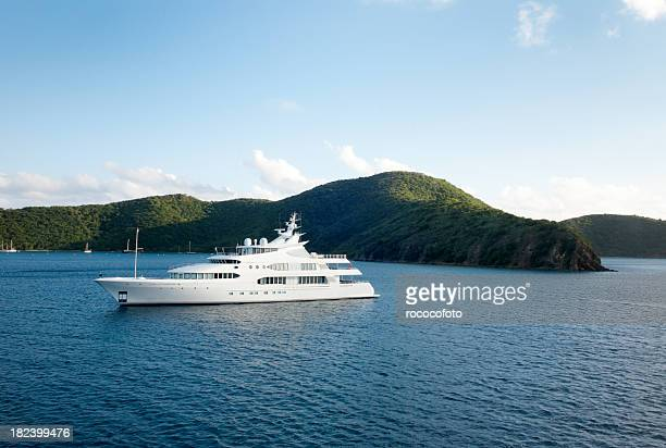 mega yacht near island - yacht stock pictures, royalty-free photos & images