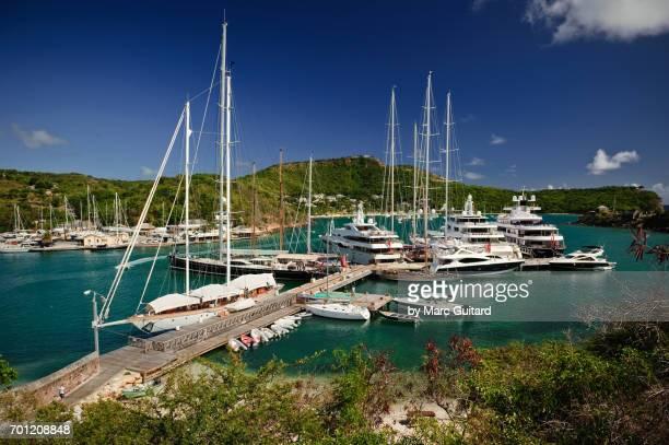 Mega yachts, English Harbour, Saint Paul Parish, Antigua