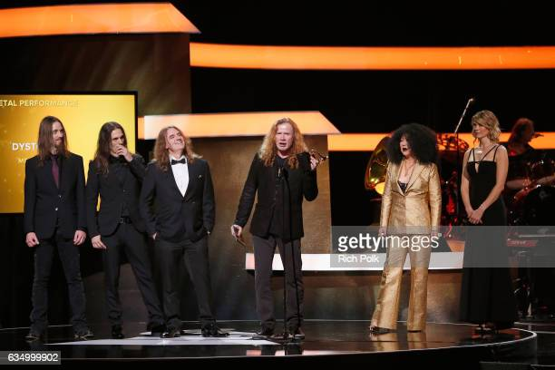 Megadeth accepts the Best Metal Performance award for 'Dystopia' onstage at the Premiere Ceremony during the 59th GRAMMY Awards at Microsoft Theater...