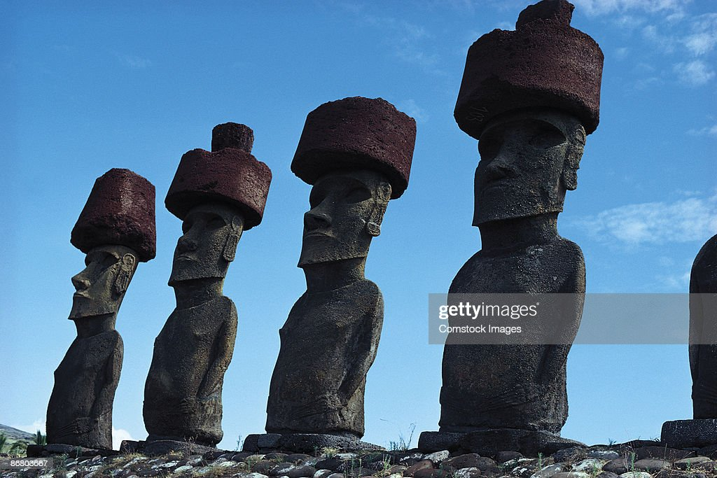Megaliths , Easter Island , Chile : Stock Photo