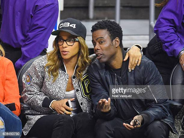 Megalyn Echikunwoke and Chris Rock attend basketball game between the Golden State Warriors and the Los Angeles Clippers at Staples Center on...