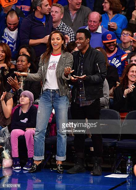 Megalyn Echikunwoke and Chris Rock attend New York Knicks vs Memphis Grizzlies game at Madison Square Garden on October 29 2016 in New York City