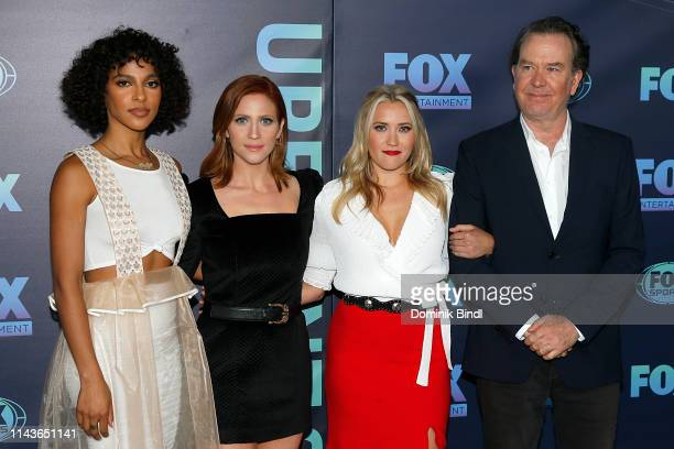 Megalyn Echikunwoke Brittany Snow Emily Osment and Timothy Hutton attend the 2019 FOX Upfront at Wollman Rink Central Park on May 13 2019 in New York...