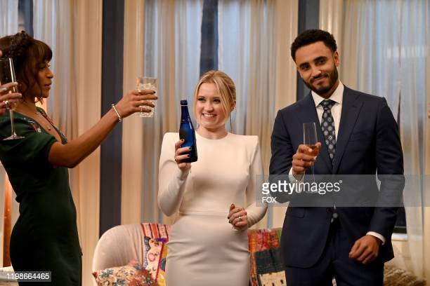 Megalyn Echikunwoke Emily Osment and Mustafa Elzein in the Expectant AF season finale episode of ALMOST FAMILY airing Wednesday Jan 29 on FOX