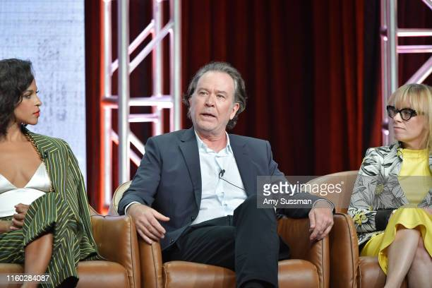 Megalyn Echikunwoke Timothy Hutton and Annie Weisman of Almost Family speak during the Fox segment of the 2019 Summer TCA Press Tour at The Beverly...